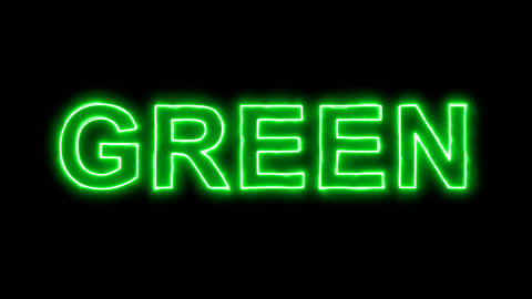 Neon flickering green text GREEN in the haze. Alpha channel Premultiplied - Animation
