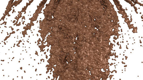 Hot chocolate or cocoa splashes slow motion flow, alpha. 3d render. 3d animation Animation