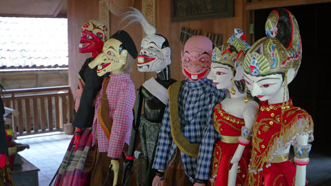 Handmade. Balinese Theater Puppets on Display at Taman Nusa Cultural Park Footage
