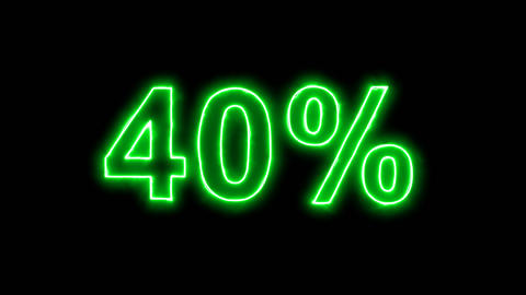 Neon flickering green sale tag 40% in the haze. Alpha channel Premultiplied - Animation