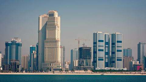 Dubai Cityscape with Highrise Buildings over the Beach. FullHD footage Footage