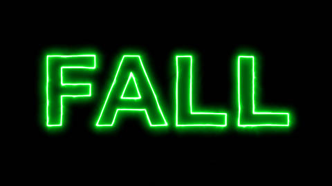 Neon flickering green season name FALL in the haze. Alpha channel Premultiplied Animation