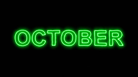 Neon flickering green name of the month OCTOBER in the haze. Alpha channel Animation