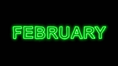 Neon flickering green name of the month FEBRUARY in the haze. Alpha channel Animation