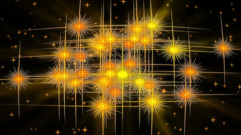 Golden, starry, vintage background with rays of light Animation