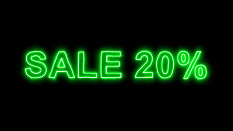 Neon flickering green sale tag SALE 20% in the haze. Alpha channel Premultiplied Animation