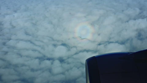 Glory Optical Phenomenon Observed from Airplane Window Live Action