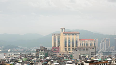 Macau's Beautiful Skyline with Large Hotel in the Foreground Live Action