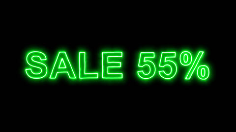 Neon flickering green sale tag SALE 55% in the haze. Alpha channel Premultiplied Animation