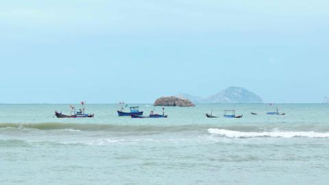 Wooden Fishing Boats Anchored off Nha Trang. Vietnam Footage