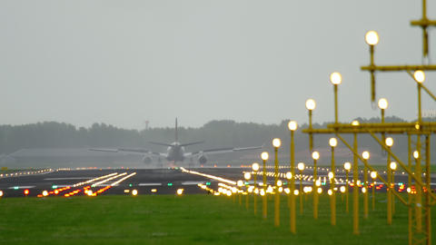 Airplane landing at early morning Footage