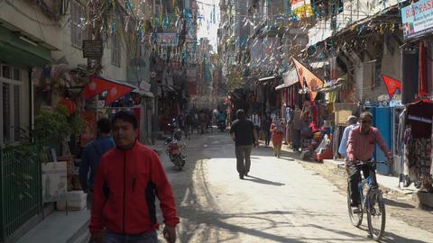 Narrow street of Kathmandu Footage
