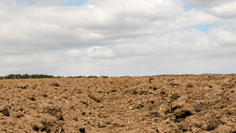 Clouds over arable land close-up. Time Lapse Footage