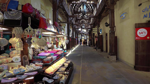 Vendor Kiosk Selling Local Goods at a Luxury Shopping Outlet in Dubai Footage