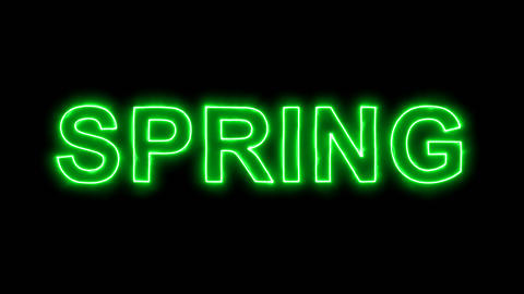 Neon flickering green season name SPRING in the haze. Alpha channel Animation