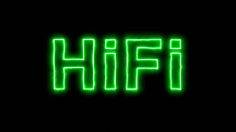 Neon flickering green abbreviation HiFi in the haze. Alpha channel Premultiplied Animation