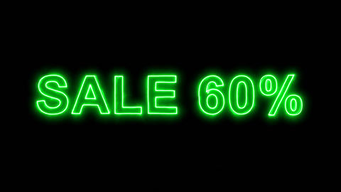 Neon flickering green sale tag SALE 60% in the haze. Alpha channel Premultiplied Animation