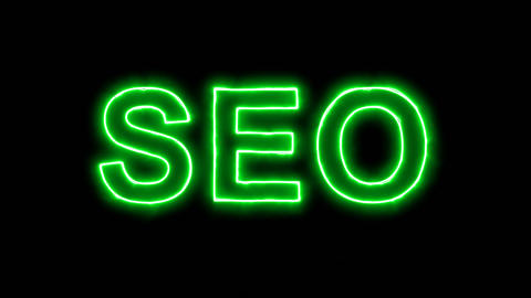 Neon flickering green abbreviation SEO in the haze. Alpha channel Premultiplied Animation