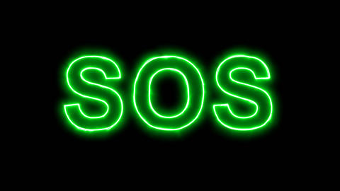 Neon flickering green text SOS in the haze. Alpha channel Premultiplied - Matted Animation