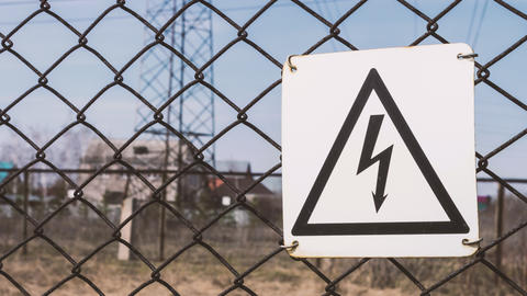 Electrical props, warning sign. Danger of electric shock. High-voltage wires in Footage