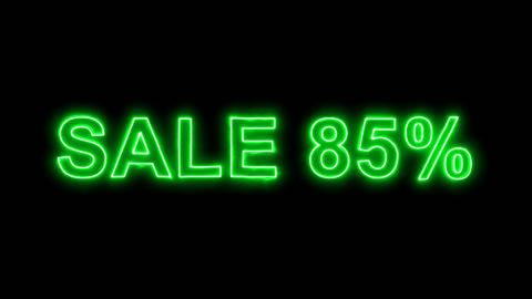 Neon flickering green sale tag SALE 85% in the haze. Alpha channel Premultiplied Animation