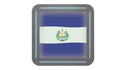 El Salvador flag waving in the wind. Icon in the frame. Animation loop Bild