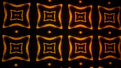 Gold Glowing Led Particles Kaleidoscope VJ Loop Motion Background Animation