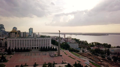 View of the square of glory. Monument of Glory, Government of Samara Region. Footage