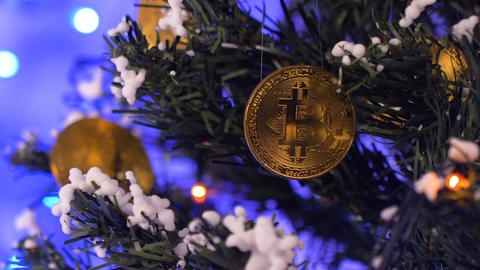 Coins Hang on Christmas Tree against Flashing Garland Closeup Footage