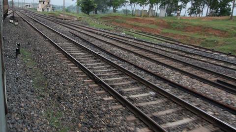 View of railway tracks, rural bengal Footage