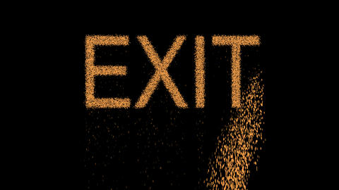 text EXIT appears from the sand, then crumbles. Alpha channel Premultiplied - Animation