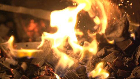Fire flame close up. Beautiful abstract background on the theme of fire Footage