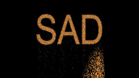 text SAD appears from the sand, then crumbles. Alpha channel Premultiplied - Animation