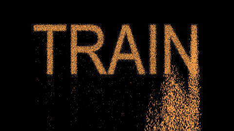 text TRAIN appears from the sand, then crumbles. Alpha channel Premultiplied - Animation