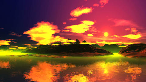 Beautiful Sunrise Over Island Animation