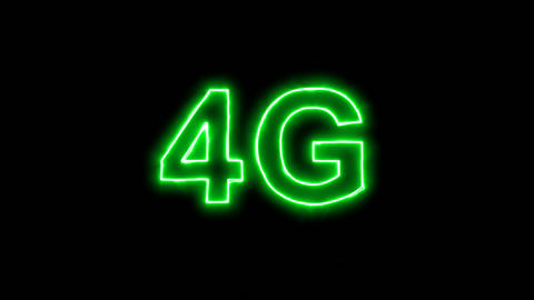 Neon flickering green abbreviation 4G in the haze. Alpha channel Premultiplied - Animation