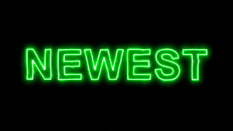 Neon flickering green text NEWEST in the haze. Alpha channel Premultiplied - Animation
