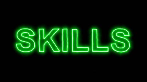 Neon flickering green text SKILLS in the haze. Alpha channel Premultiplied - Animation