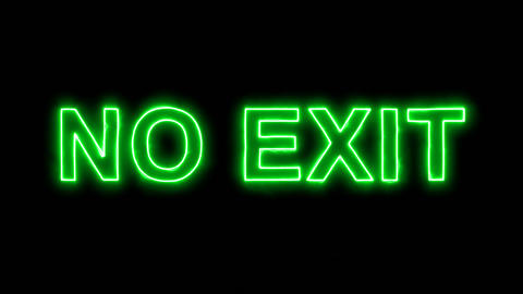 Neon flickering green common expression NO EXIT in the haze. Alpha channel Animation