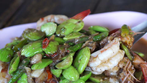 Thai traditional food shrimp fries with parkia. Healthy…, Live Action