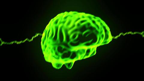 Brain Hologram Rotating Sparks Lightning Electricity Headache Neuron 4k stock footage