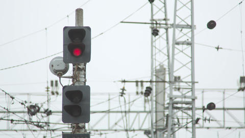 Red Signal On Railway Footage