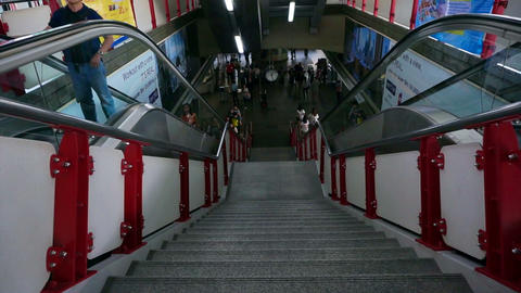Bangkok, Thailand - October 2015: Main stair and escalators in Siam station with Footage