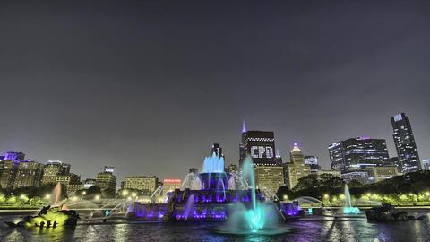 Chicago City Night Buckinham Fountain Hyperlapse Footage