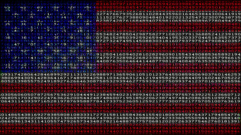 Cyber USA Flag - Digital Data Code Matrix Animation