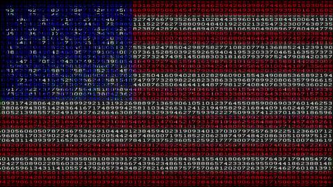 Cyber USA Flag - Digital Data Code Matrix Animation