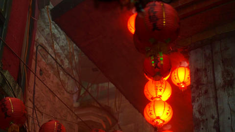 Video of Chinese red lanterns shining in the mist. Mysterious and spiritual abstract Live Action