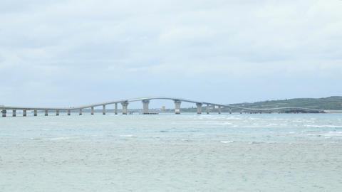 Wide view of the newly opened Irabu Ohashi connecting the islands at Miyakojima Footage