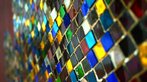 Colourful glass mosaic abstract shiny vintage background Footage