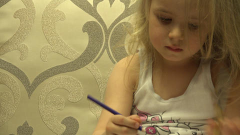 Adorable Cute Painter Girl With Pen Create a Picture. 4K UltraHD, UHD Footage